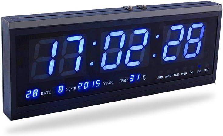 LED orologio digitale grande con tempo calendario Data e Temperatura Indicatore Orologio da scrivania per casa ufficio ristorante Banco Traduzione blu
