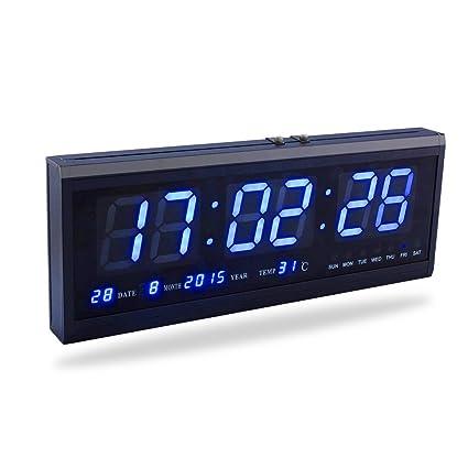 Fdit LED Reloj Digital Grande con Tiempo Calendario Fecha y Temperatura Indicación Reloj de Escritorio para