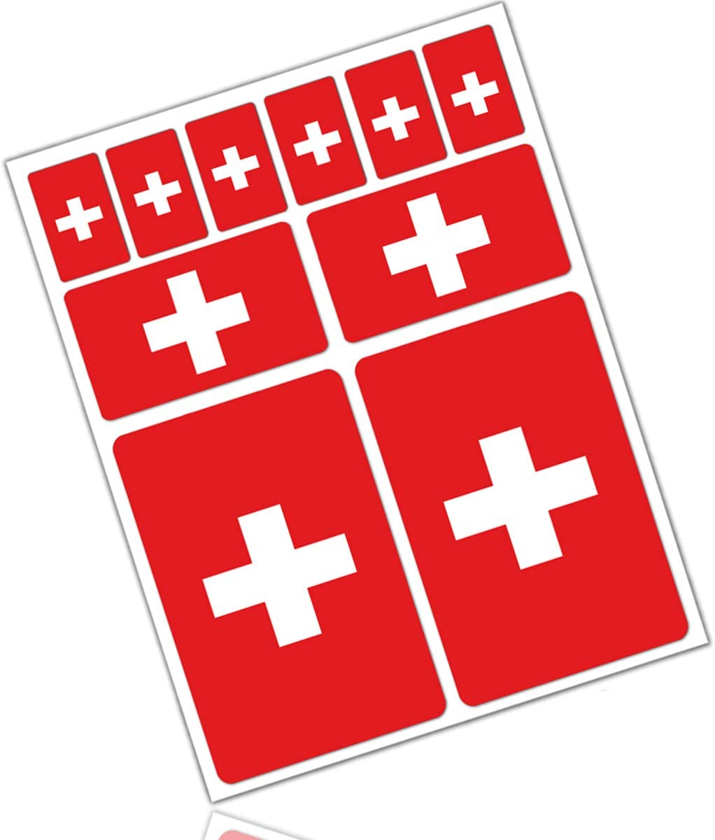 Biomar Labs 10 X Vinyl Aufkleber Autoaufkleber Stickers Fahne Flagge Switzerland Schweiz Swiss Auto Moto Motorrad Fahrrad Scooter Fenster D 23 Auto