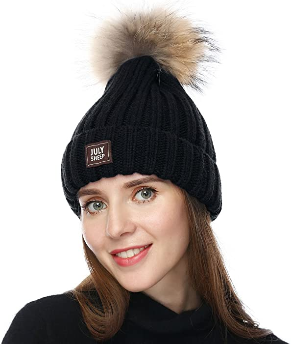 JULY SHEEP Womens Girls Winter Knitted Beanie Hat Real Large Raccoon Fur  Pom Pom Bobble Hats 269e2cde16b8