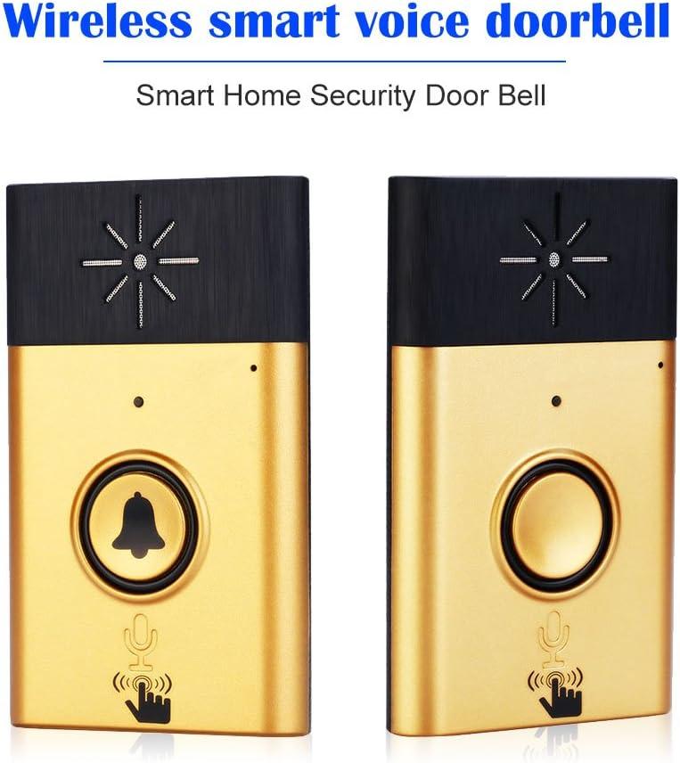 Walmeck Wireless Voice Intercom Doorbell 2-Way Talk Monitor with 1*Outdoor Unit Button 2* Indoor Unit Receiver Smart Home Security Door Bell,Silver