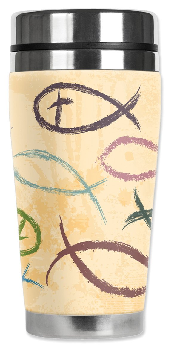 Mugzie MAX 20-Ounce Stainless Steel Travel Mug with Insulated Wetsuit Cover Fish Symbols