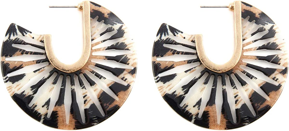 Animal Disc Threader Tortoise Leaf Marbled Flower Mottled Resin Geometric Statement Hoops Leopard Oval Multi Color Acetate Hoop Earrings