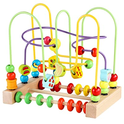 Wooden Baby Toddler Toys Circle First Bead Maze Boys Girls Training Child Attention Count and Grasping Ability(Size: 8.85 x 8.85 x 5.9 inches): Toys & Games