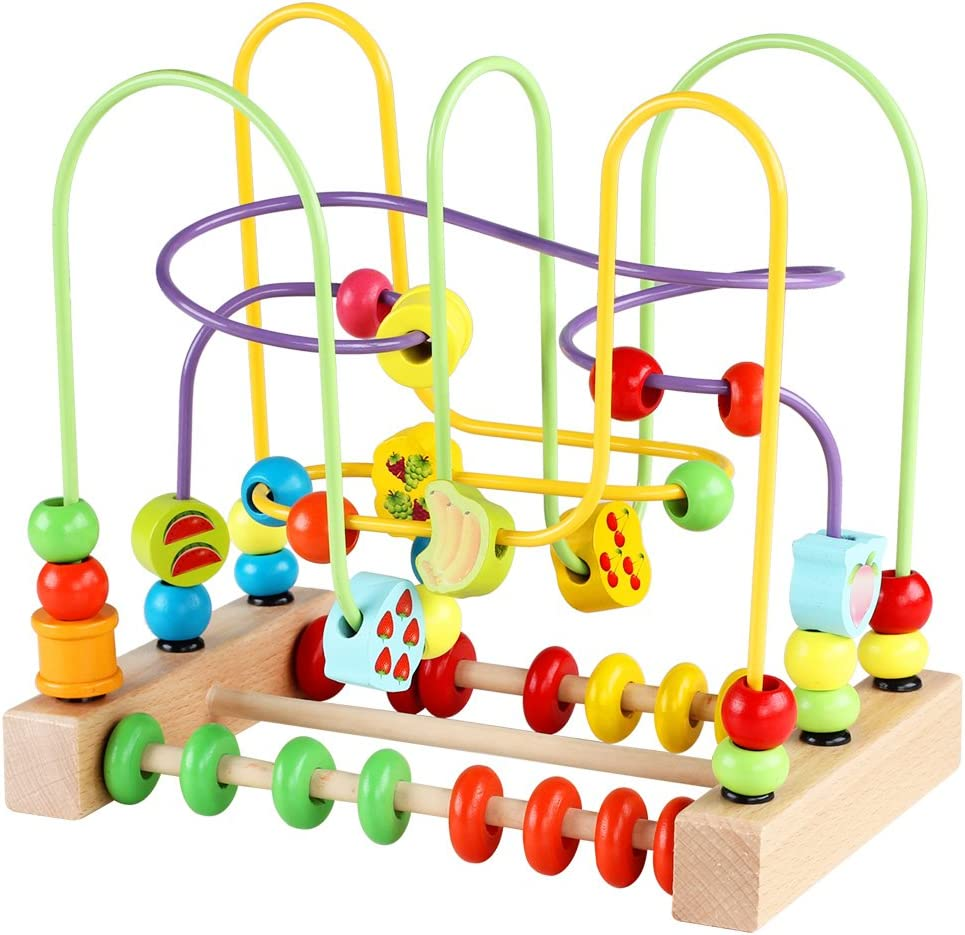 Bead Maze Toy for Toddlers Wooden Colorful Roller Coaster Educational Circle Toys for Kids Sliding Beads On Twists Wire Training Child Attention Count and Grasping Ability (QZM-0135-Toys)…