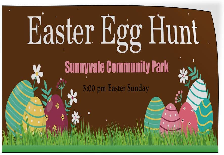 Custom Door Decals Vinyl Stickers Multiple Sizes Easter Egg Hunt Location Time Date Holidays and Occasions Happy Easter Outdoor Luggage /& Bumper Stickers for Cars Brown 66X44Inches 1 Sticker