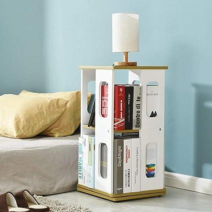 PLLP Home Bedroom Bookcase Swivel Bookshelf Floorstanding Multifunction 2 Layer Storage RackStudent Dormitory