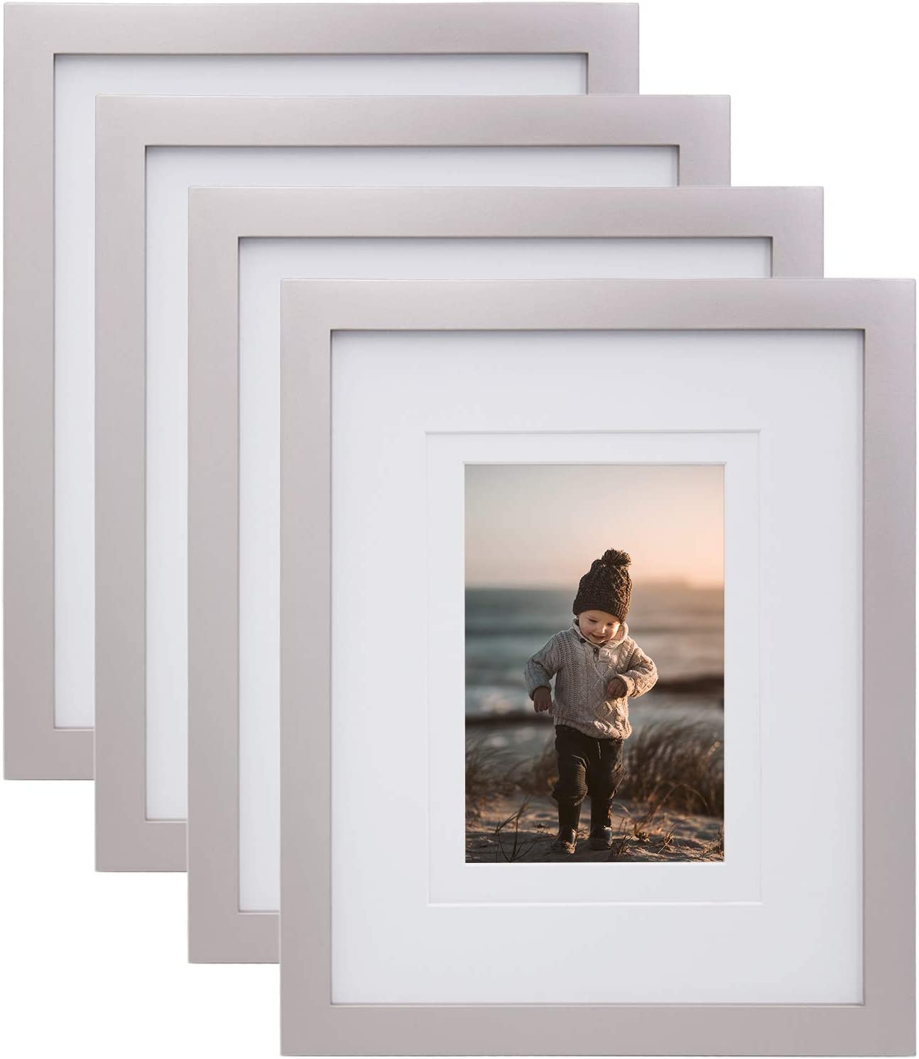 KINLINK 8x10 Picture Frames Silver-Wood Frames with HD Plexiglass for Pictures 4x6/5x7 with Mat or 8x10 without Mat,Tabletop and Wall Mounting Display, Set of 4