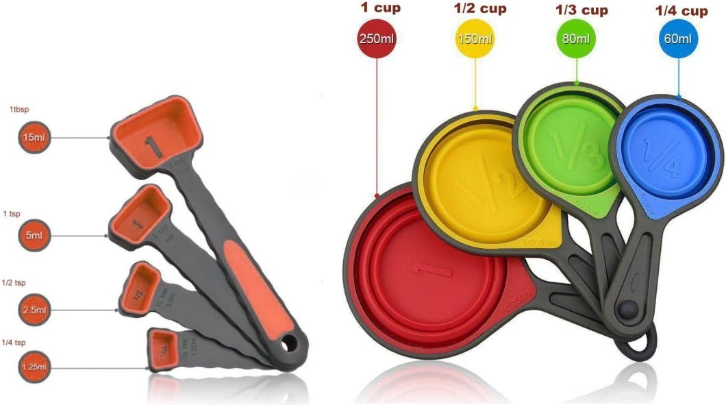 Food Grade colorful silicone Collapsible measuring Cups and Measuring Spoons Set 8 pieces for kitchen baking cooking crafts making both dry and liquid ingredients BPA free