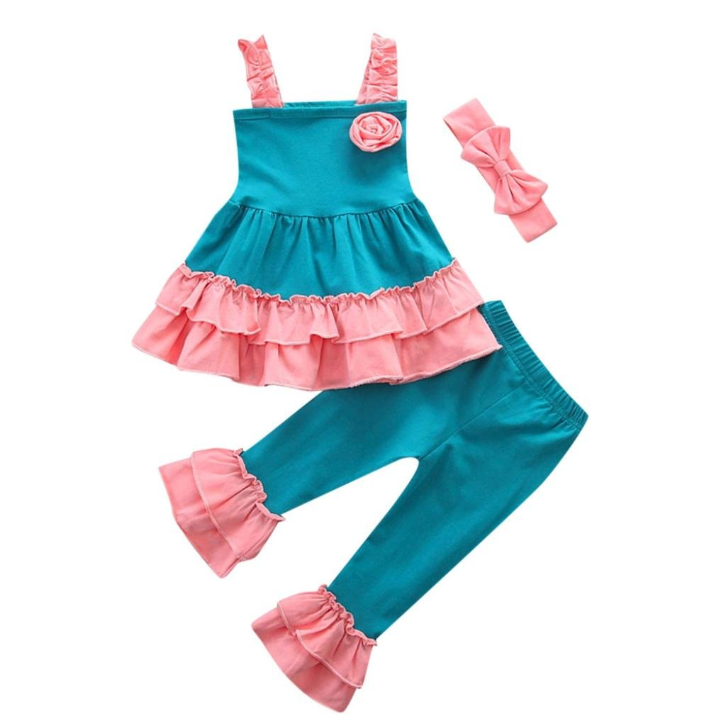 Moonker 3PCs Toddler Baby Girls Kids Outfit Clothes Flower Strap Tops+Ruched Pants+Bowknot Headband Sets 1-4 T (Pink, 3-4 Years Old)