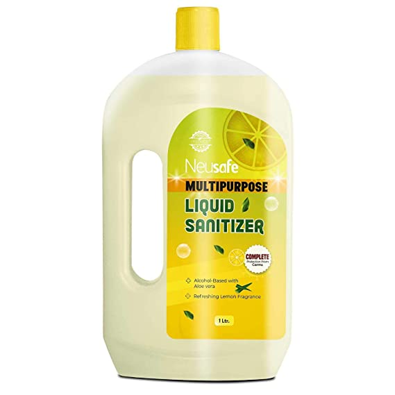 Neusafe Multipurpose Isopropyl Alcohol and Aloevera Based(Lemon) Liquid Sanitizer for Hard and Soft Surface-1 Litre