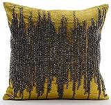 The HomeCentric Luxury Chartreuse Euro Shams, 26''x26'' Euro Shams, Gunmetal Beaded Euro Pillow Shams, Velvet Euro Shams, Striped Modern Euro Shams - Chartreuse Spill