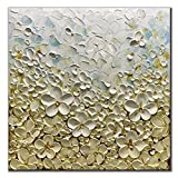 V-inspire Abstract Paintings, 32x32 Inch 3D Abstract Paintings White Flower Oil Hand Painting On Canvas Wood Inside Framed Ready to Hang Wall Decoration For Living Room Bed Room