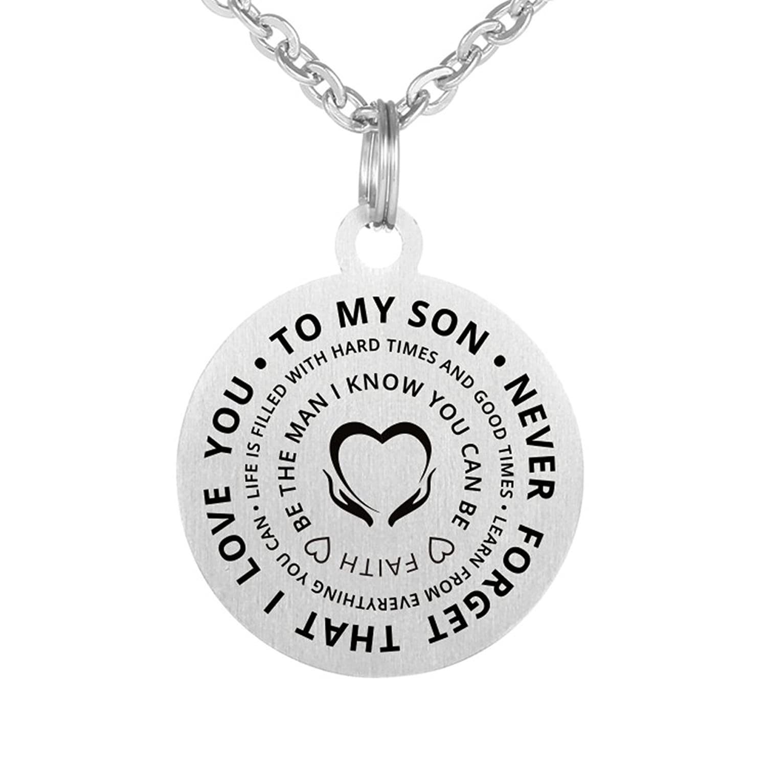 Inspirational Love Birthday Gift To My Son Never Forget That I Love You Stainless Steel Dog Tag Pendant Necklace Keychain Be The Man