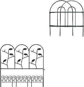 Amagabeli Decorative Garden Fence 18 in x 50 ft Rustproof Green Iron Fence Bundle 18in x 7ft Decorative Garden Fence Border Rustproof Iron Animal Barrier