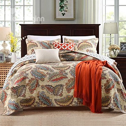 Luckey1 Cotton Queen Size Quilt Sets , Bedspread and Quilt Bedding Sets Queen Size 3 Pieces