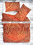 NEW Full Indian Medallion ORANGE OMBRE JAIPURI RAZAI Quilted Quilt Hippie Blanket Reversible Comforter RAJAI Blanket Coverlets Queen Size Bedding With 2 Pillows By BHAIRAV HANDICRAFT