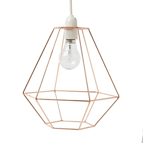 Industrial modern copper wire ceiling pendant light lamp shade just contempo diamond wire ceiling light pendant copper greentooth Images