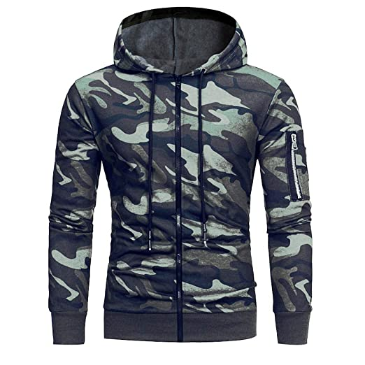 db5a0ee1f607 Amazon.com  ANJUNIE Mens  Long Sleeve Camouflage Men s Full Zip Club Hoodie  Sweatshirt Casual Jacket  Clothing