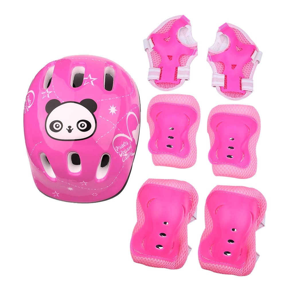 VGEBY 7Pcs Protective Gear Set, Bike Knee Elbow Pads Sports Protective Gear Safeguard for Kids Toddler Roller Skating Cycling(Pink)
