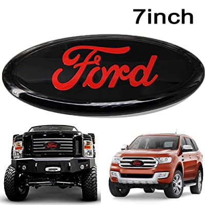 Poiuy Black for Front Emblem,For FORD 7 Inch Front Grille Tailgate Emblem, 3D Oval 3M Double Side Adhesive Tape Sticker Badge for Ford Escape Excursion Expedition Freestyle F-150 F-250 F350: Automotive