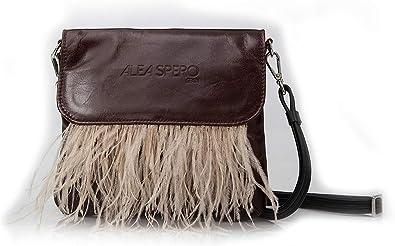 Alea Spero, Bolso mujer piel natural, Zeny Plumas, Fabricado en España (Marron): Amazon.es: Zapatos y complementos
