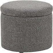 "Amazon Brand – Rivet Madison Modern Round Lift-Top Storage Tray Ottoman Pouf, 19.7""W, Grey"