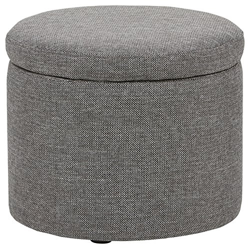Rivet Madison Modern Round Lift-Top Storage Tray Ottoman Pouf, 19.7 W, Grey Storm