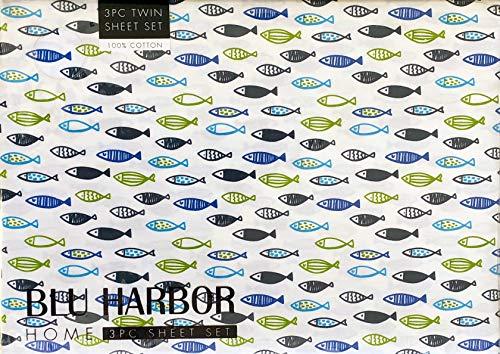 Blu Harbor 3pc Cotton Sheet Set Geometric Fish Pattern Ocean Sea Life in Shades of Blue Black Green on White (Twin) ()