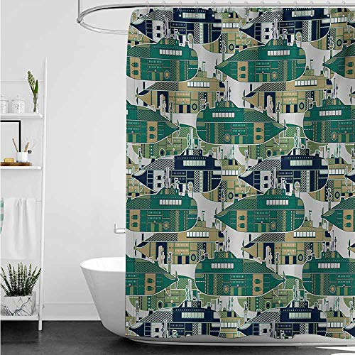 home1love Hotel Style Shower Curtain,Retro Old School Submarine Concept with Torpedoes Vintage Hand Drawn Squares Circles Image,Bathroom Decoration,W55x86L,Multicolor