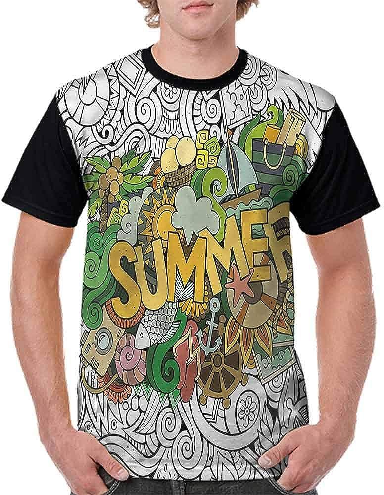 BlountDecor Cotton T-Shirt,Summer Tropical Marine Fashion Personality Customization