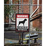 Honey Dew Gifts Rottweiler Sign Warning Protected by Rottweiler 9 x 12 Inch Beware of Dog Warning Metal Aluminum Tin Sign - Beware of Dog Signs for Fence 7