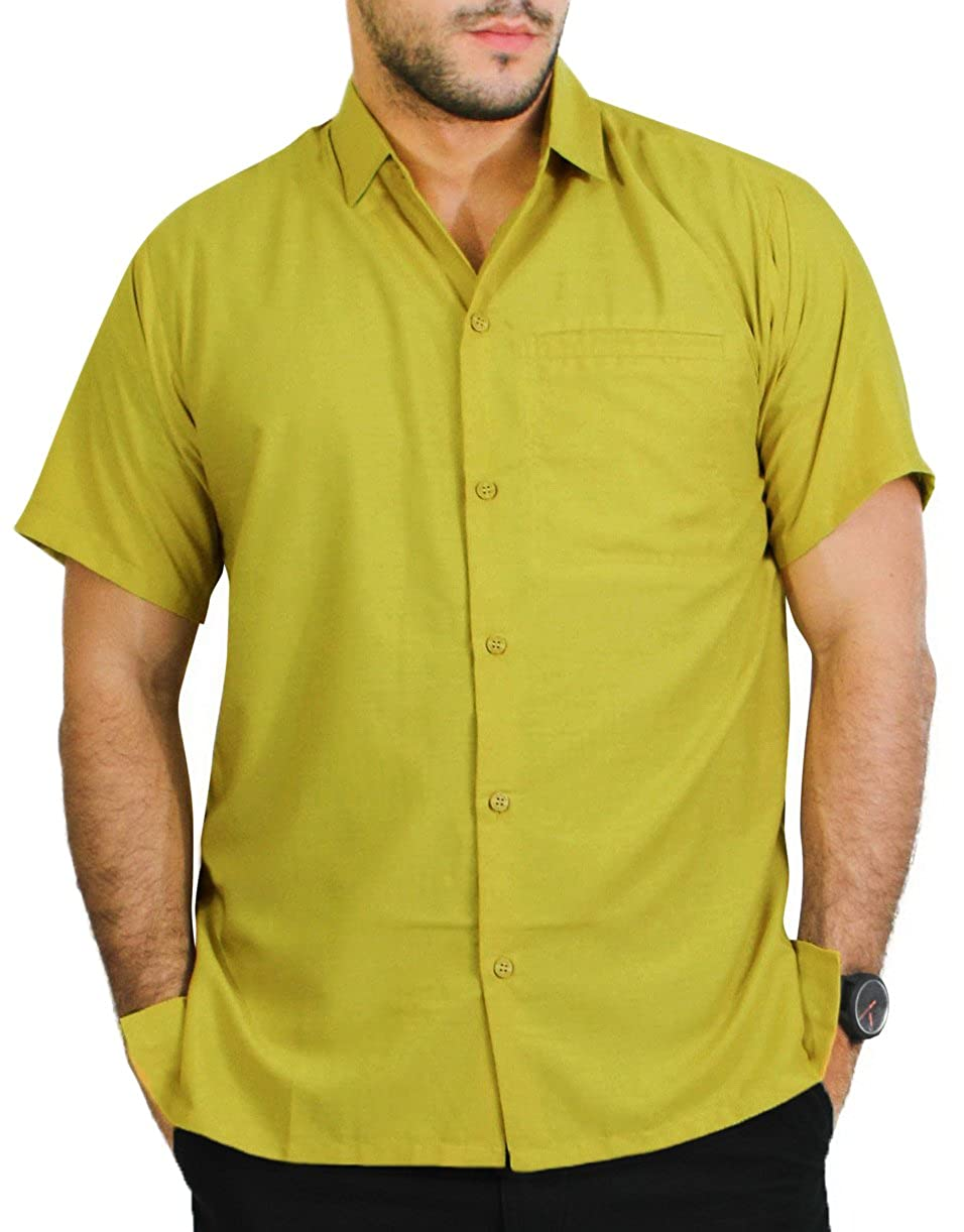 TALLA L - Pecho Contorno (in cms) : 111 - 121. LA LEELA Camisa Hawaiana de Manga Corta de los Hombre