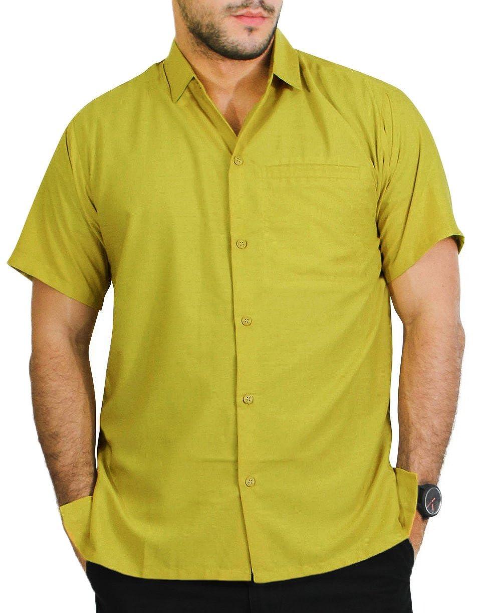 TALLA L - Pecho Contorno (in cms) : 111 - 121. LA LEELA Shirt Camisa Hawaiana Hombre XS - 5XL Manga Corta Delante de Bolsillo Impresión Hawaiana Casual Regular Fit Camisa de Hawaii Negro