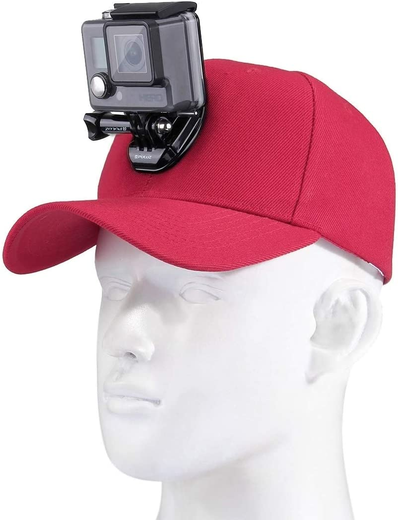 Color : Red Baseball Hat with J-Hook Buckle Mount /& Screw for GoPro HERO7 //6//5 //5 Session //4 Session //4//3+ //3//2 //1 Xiaoyi and Other Action Cameras Reliable DJI New Action