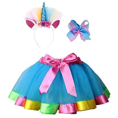 Simplicity Girls Rainbow Layered Tulle Tutu Skirt with Unicorn Headband & Hair Bow: Clothing