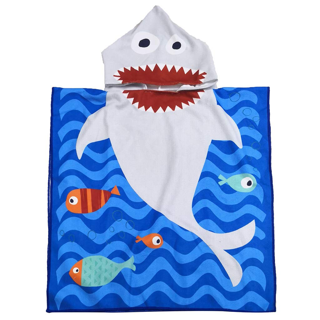 A, 120x76CM Sillor New,Childrens Comfort Super Soft Beach Towel Cotton Cute Hooded Loose Quick Dry Beach Towel,120x76CM