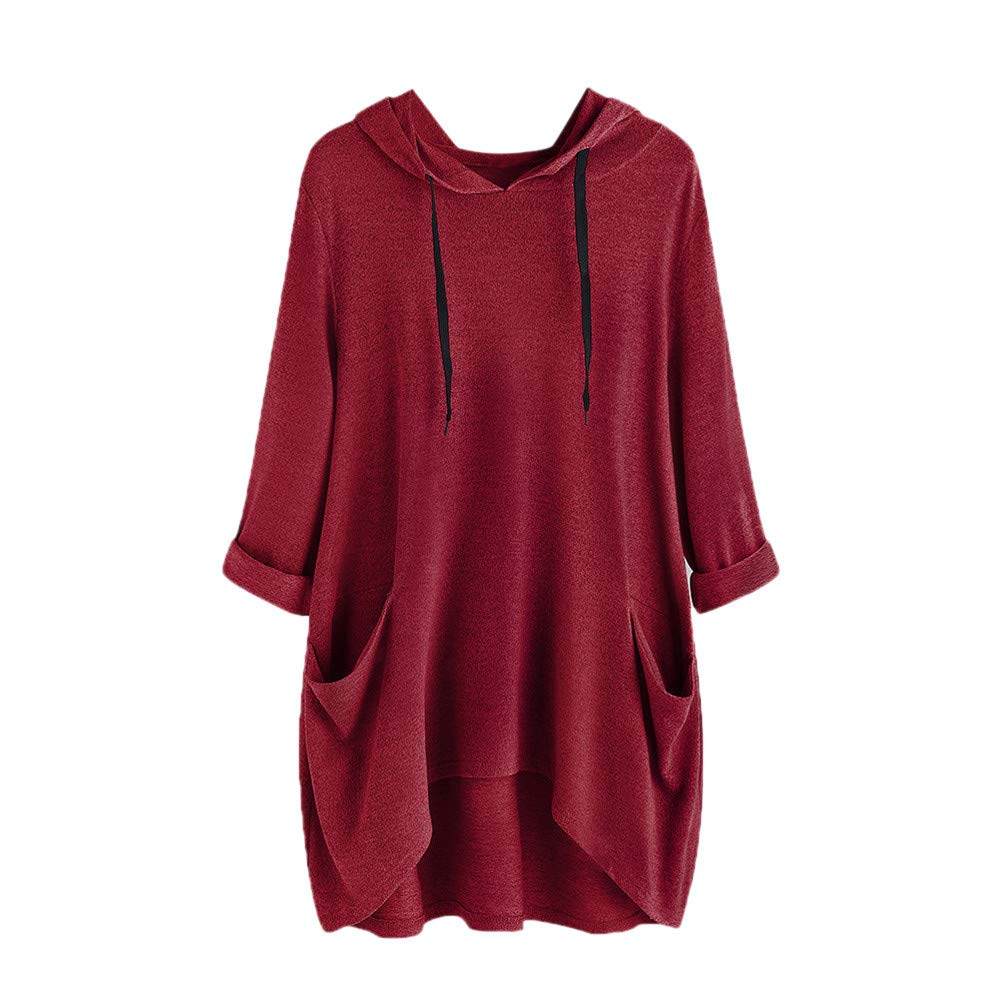 Clearence Women's Tops KpopBaby Winter Warm Casual Solid Side Pocket Hooded Irregular Blouse Shirts GR20186666