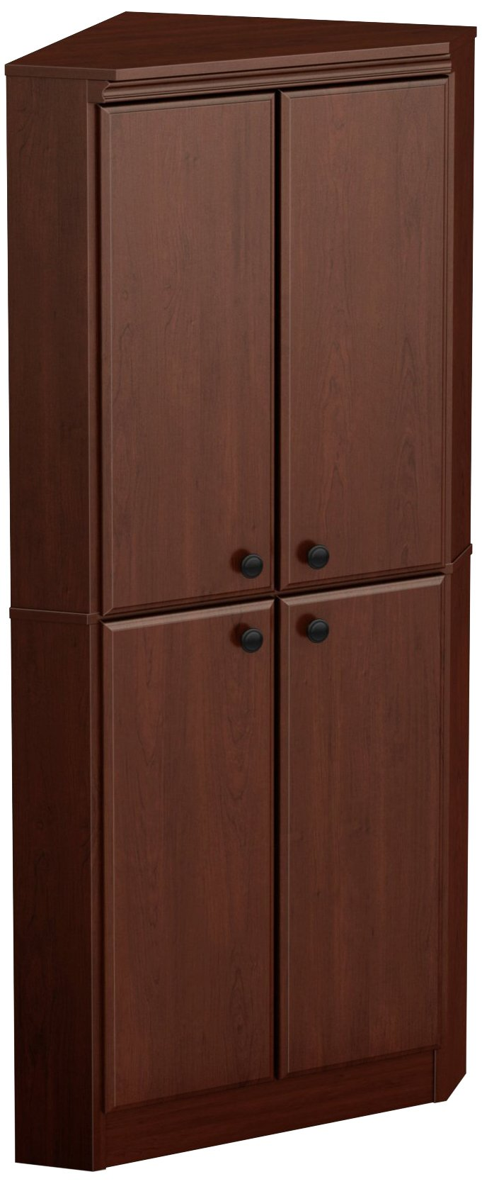 South Shore 4-Door Corner Armoire for Small Space with Adjustable Shelves, Royal Cherry by South Shore