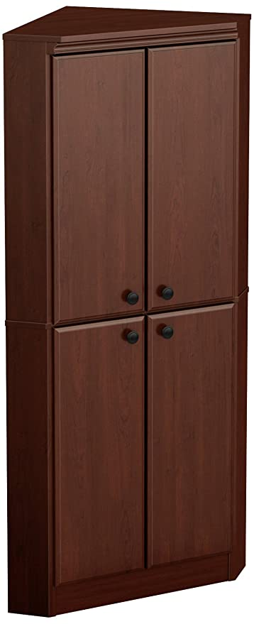 South Shore Morgan 4 Door Corner Armoire, Royal Cherry