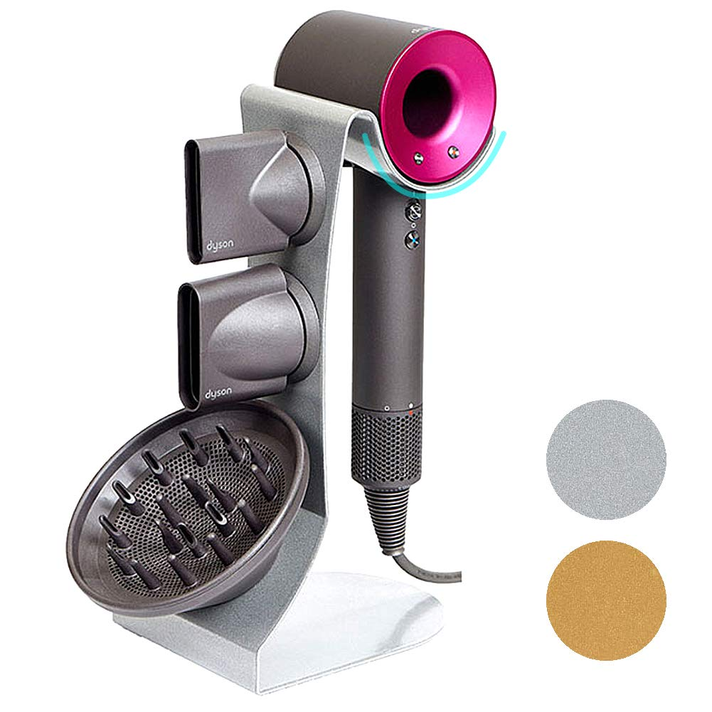Dyson Hair Dryer Stand Holder, Steel for All Dyson Models (Silver Pearl) by MD Global