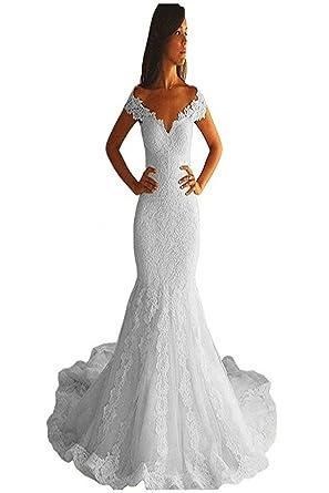 f28500a798 YSFS Women s Lace Mermaid Wedding Dresses Chapel Train Bridal Wedding Gowns   Amazon.co.uk  Clothing