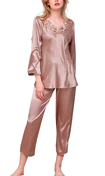 Dolamen Pijamas Camisón para Mujer, Mujer Largo Camisones Raso Satin Pijamas, lencería Cuello Redondo