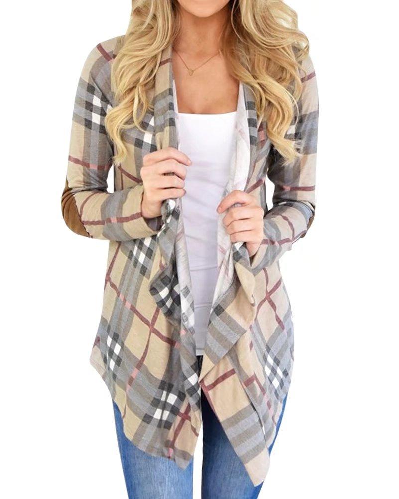 NAWONGSKY Women's Casual Plaid Long Sleeve Open Front Drape Cardigan Tops, Khaki, Tag XL = US (8-10)