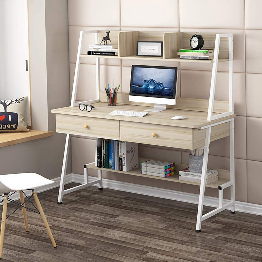 Simple Desk with Bookshelf 40/47 inch,Home Office Desk with Hutch Modern Bedroom Home Combination Writing Office (47 in,Brass)