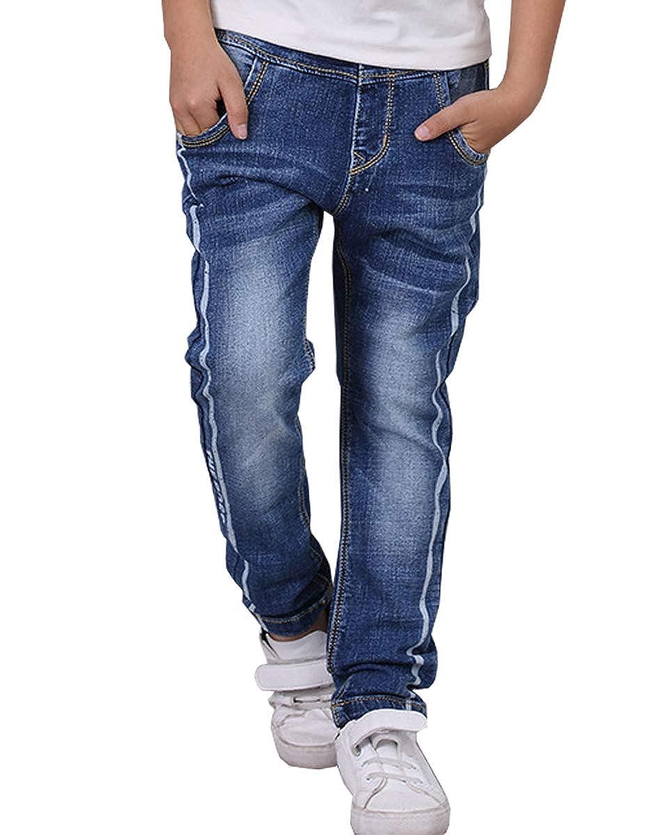 LittleXin Kids Boys Fashion Vertical Stripes Jeans Casual Denim Pants 4-14 Yrs