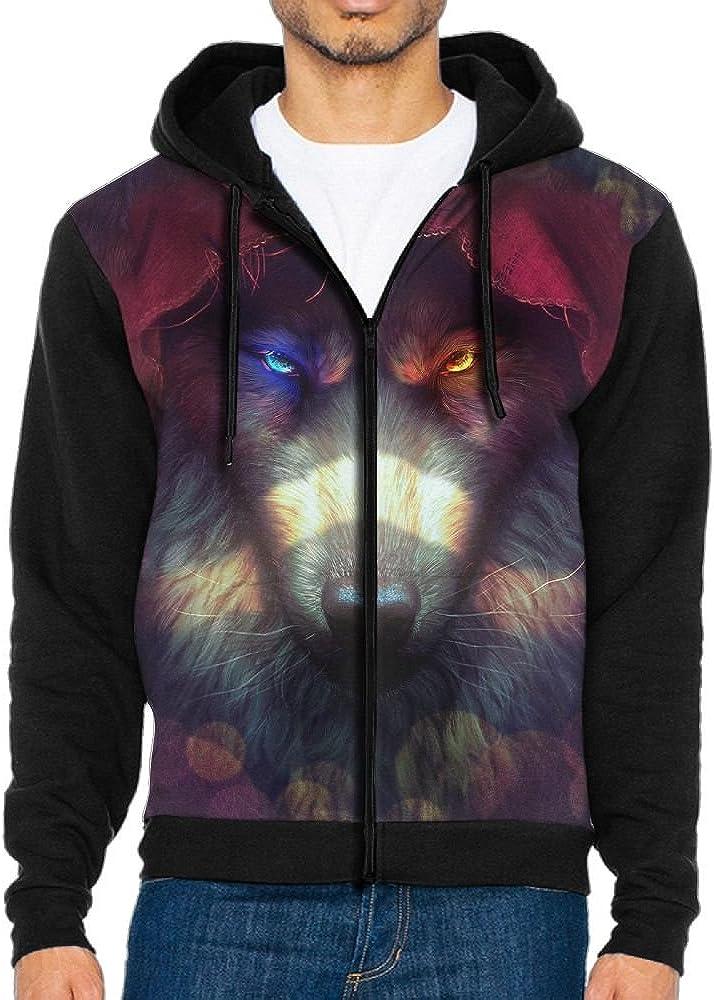 Shine Eyes Wolf 3D Print Custom Mens Teen Soft Long Sleeve Zip-up Hoody 3D Printed Fleeces Tops Sweatshirt With Kanga Pocket