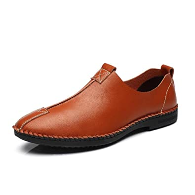 Shoes Men's Loafers & Slip-Ons Comfort Light Soles Formal Shoes Summer Fall Leather Casual Party & Evening Office & Career Flat Heel (Color : Brown Size : 41)