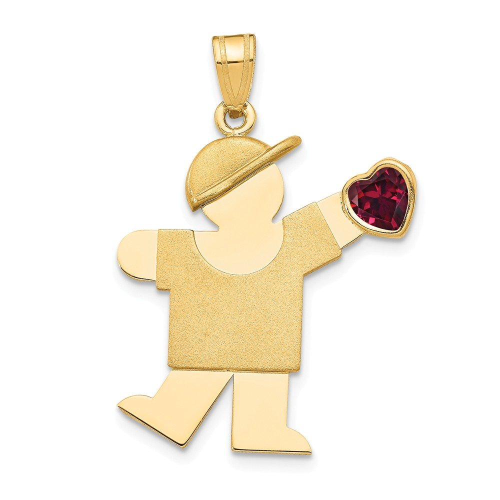 The Kids Collection 14K Yellow Gold Kid Boy with Deep Red Heart CZ January Birthstone Charm Pendant