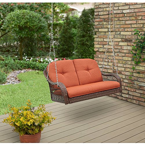 Better Homes and Garden Azalea Ridge Relax Carefree Comfortable Seat Powder Coating Steel Frame Polyester Fabrics Cushion Outdoor Wicker Swings, 2 Seats , Orange Brown Review